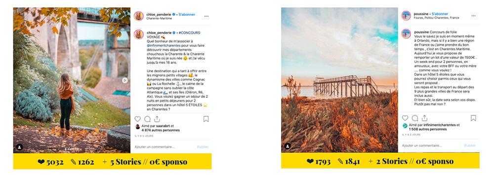 Campagne de recrutement Instagram pour Infiniment Charentes